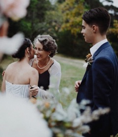 Hani and Gabe, with Linda who was the celebrant, at their wedding ceremony. The couple are from Bellingen but the ceremony was held at Moroya